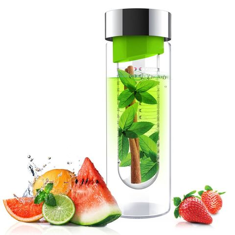 Бутылка Asobu Flavour it (0,48 литра), зеленая с серебристым