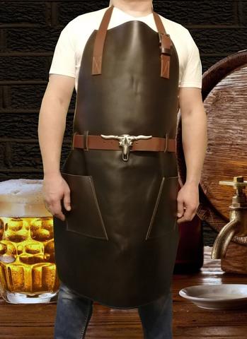 Мужской брутальный кожаный фартук ручной работы