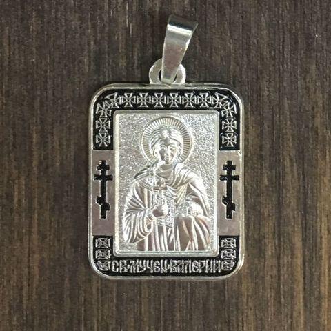 Нательная именная икона святой Валерий с серебрением кулон с молитвой