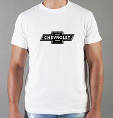 Футболка с принтом Шевроле (Chevrolet) белая 002