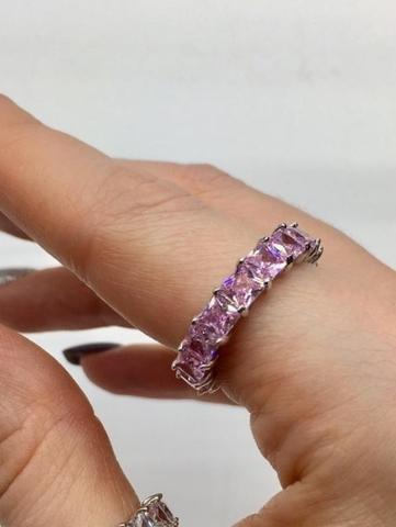 Кольцо дорожка из серебра с розовыми, багетными цирконами