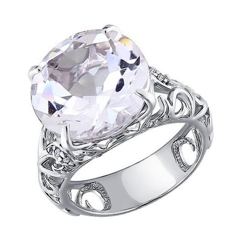 92010526- Крупное кольцо с горным хрусталём из серебра