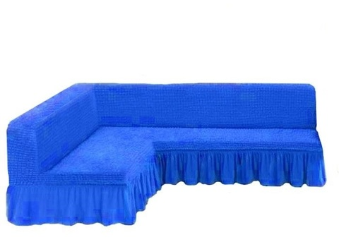 Чехол на угловой диван без подлокотников, лазурный
