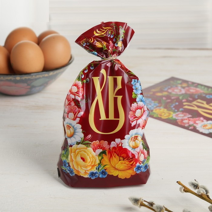 Картинка - Набор для упаковки яиц «Цветочный», 2 предмета: термоплёнка, пакет