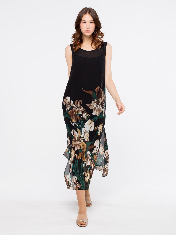 Платье З034-174 - Длинное платье из прозрачного шифона с глубокими разрезами по бокам и округлым вырезом. Яркий, цветочный принт на черном фоне смотрится эффектно и стильно. Подойдет как для повседневного образа, так и для торжественного мероприятия. В комплекте трикотажное, нижнее платье на бретелях.