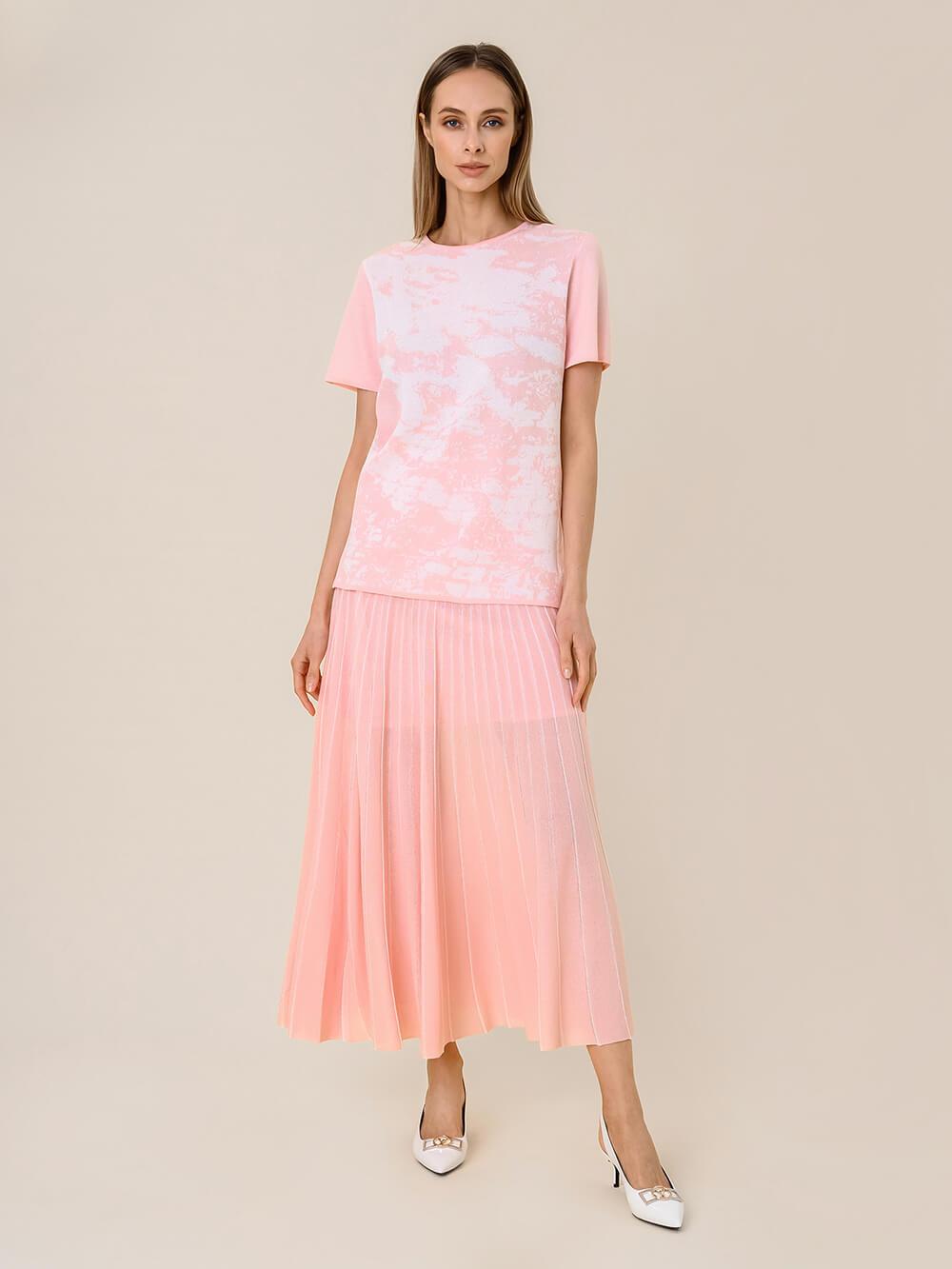 Женская юбка-плиссе розового цвета из вискозы - фото 1