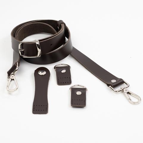 """Комплект для сумки-ракушки """"Темно-коричневый"""" с ручкой через плечо"""