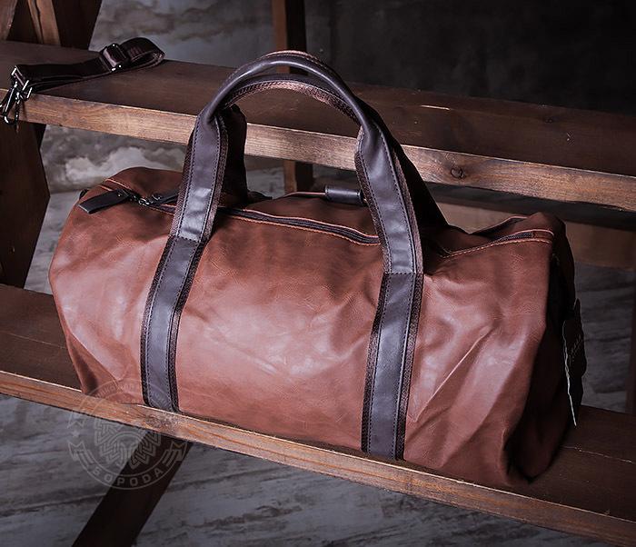 BAG408-2 Мужская сумка коричневого цвета из искусственной кожи фото 04