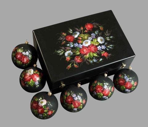 Набор из 6 елочных шаров в шкатулке SET04D-667785790