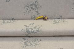 Льняная интерьерная ткань , рисунок РОЗЫ на НАТУРАЛЬНОМ фоне