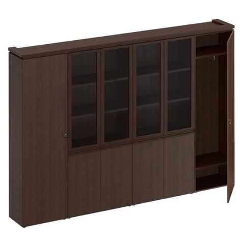 МК 390 ДА Шкаф комбинированный (для документов узкий + со стеклом 2 шт. + для одежды узкий)