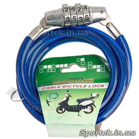 Велозамок с кодом на стальном тросе 5 х 900 мм с синим виниловым покрытием