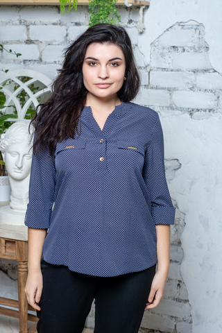 Виктория. Красивая женская блуза. Синий дизайн