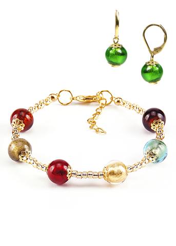 Комплект Carnavale Oro (браслет и серьги Piccolo зеленые)