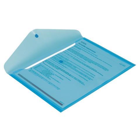 Папка-конверт Attache на кнопке А4 синяя 0.18 мм