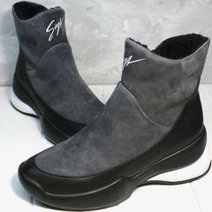 Зимние женские кроссовки сникерсы Jina 7195 Leather Black-Gray