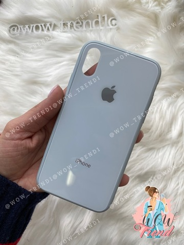 Чехол iPhone XS MAX Glass Pastel color Logo /mist blue/