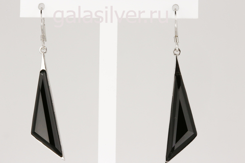 Серьги с черным ониксом из серебра 925