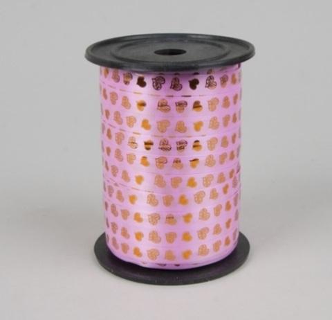 Лента простая 1/100 с нанесением металла, сердца РД ярко-розовая