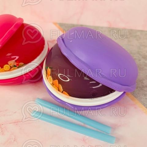 Набор Слаймы антистресс макаронс внутри с наполнением фруктами Macarons 2 штуки Малиновый и Лиловый