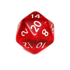 Куб D20 прозрачный: Красный