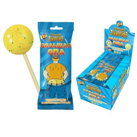ЗУБОДРОБИЛКА Большая ОПА многослойная конфета на палочке с надувной резинкой, 1кор*12бл*10 шт, 60г