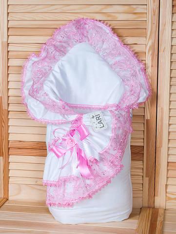 Зимний конверт одеяло Луиза с подушкой (белый/розовый)