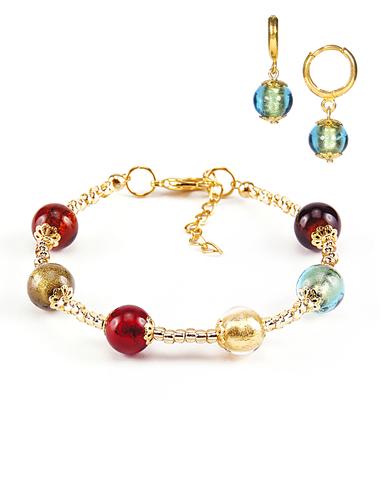 Комплект Carnavale Oro (браслет и серьги Piccolo изумрудные)