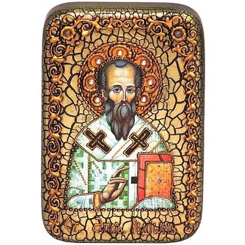 Инкрустированная Икона Святой апостол Родион (Иродион), епископ Патрасский 15х10см на натуральном дереве, в подарочной коробке