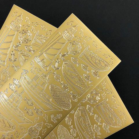Контурные наклейки Маяк и шхуны, золото