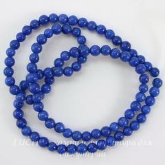 Бусина Жадеит (тониров), шарик, цвет - синий, 4 мм, нить