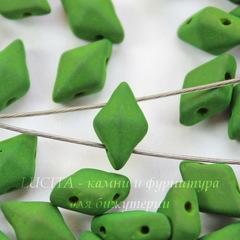 Бусина DiamonDuo Ромб с 2 отверстиями, 8х5 мм, зеленая матовая