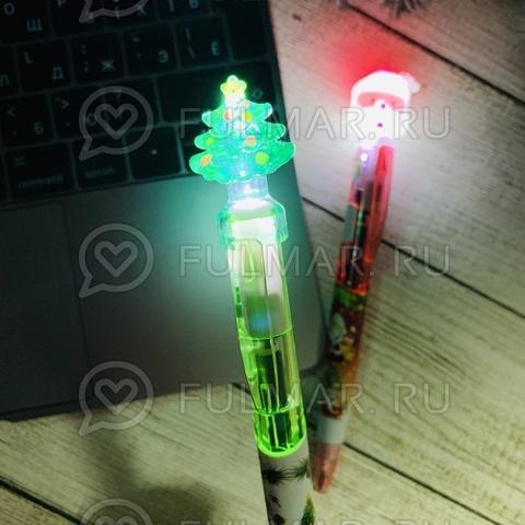 Ручки с фонариком Новогодние Дед Мороз и Ёлка набор 2 штуки