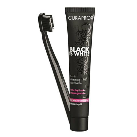 Зубная паста и ультрамягкая щетка / CURAPROX Black Is White, 10 мл