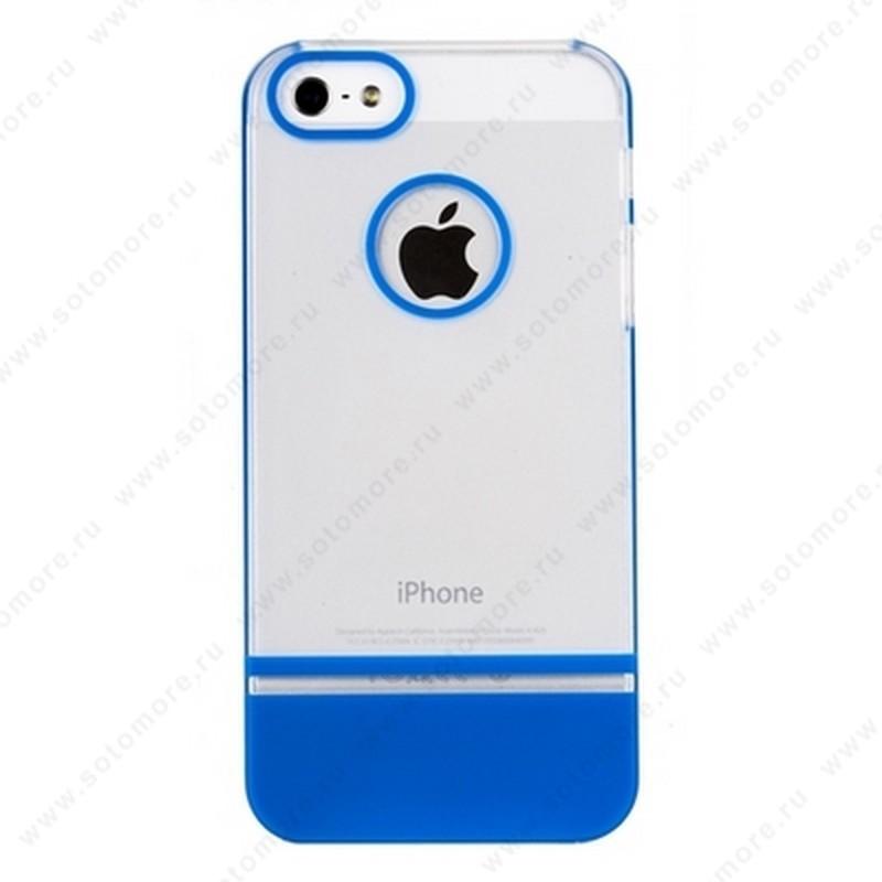 Накладка MOBILE 7 для iPhone SE/ 5s/ 5C/ 5 белый верх синий низ