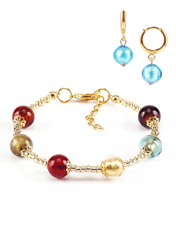 Комплект Carnavale Oro (браслет и серьги Piccolo голубые)