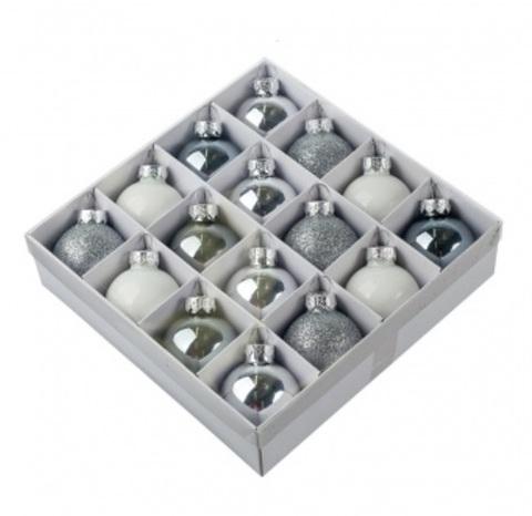 Набор шаров 16шт. (стекло), D4см, серебряно-белый микс