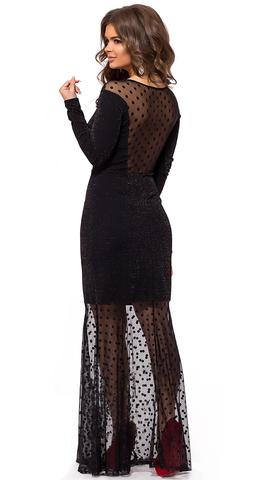 Вечернее платье в пол с люрексом, черное 2