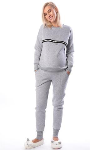Спортивный костюм для беременных и кормящих 10026 серый