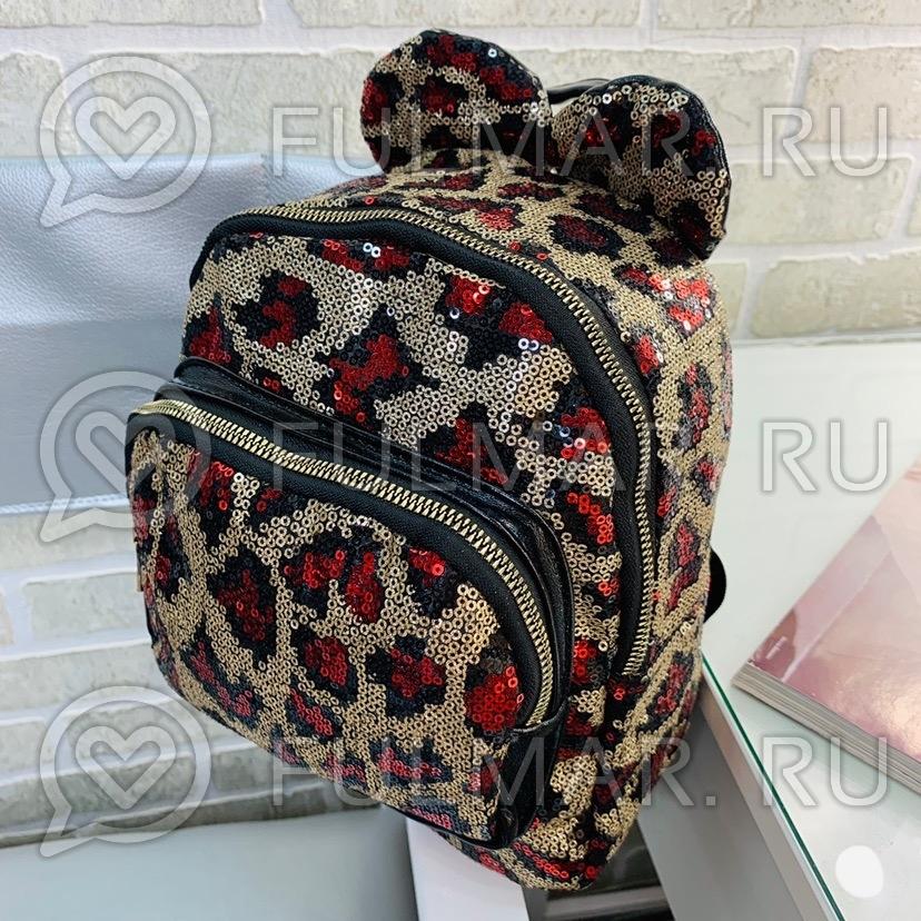 Рюкзак для девочки с ушками леопардовый с красным в пайетках фото