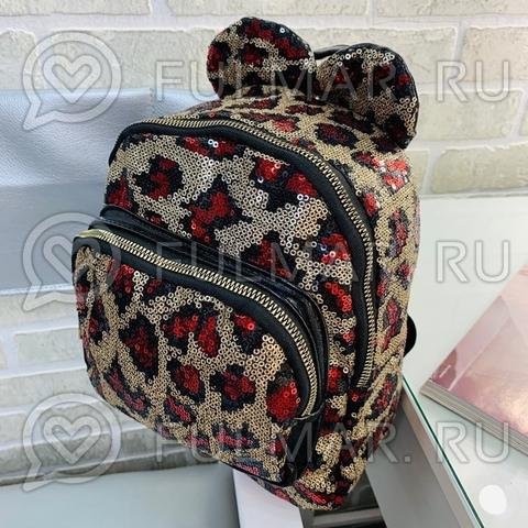 Рюкзак детский в блёстках леопардовый с красным с ушками (25х22х10 см)
