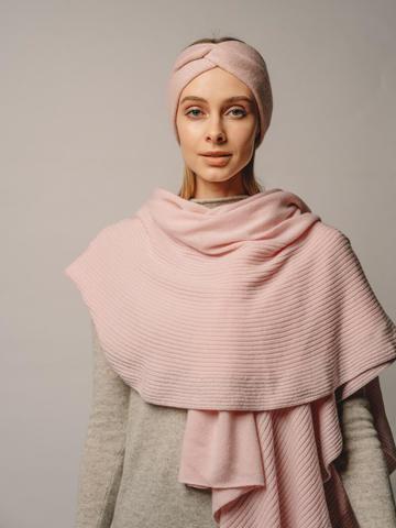 Женский шарф розового цвета из шерсти и кашемира - фото 2