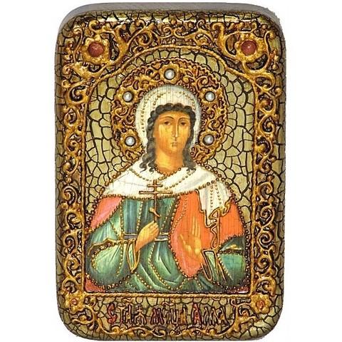 Инкрустированная Икона Святая мученица Алла Готфская 15х10см на натуральном дереве, в подарочной коробке