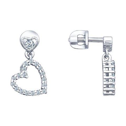 94021719 - Серьги-пусеты из серебра с подвесками сердечки