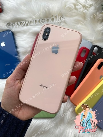 Чехол iPhone XS MAX Glass Pastel color Logo /pink sand/
