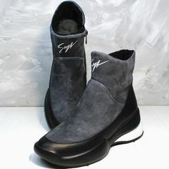 Snow boots женские Jina 7195 Leather Black-Gray