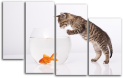 """Модульная картина """"Кот и золотая рыбка"""""""