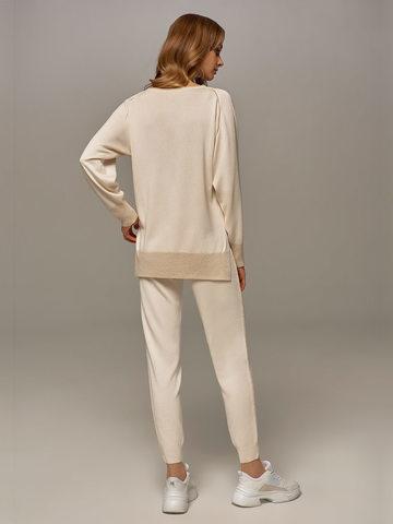 Женский джемпер белого цвета из шелка и кашемира - фото 6