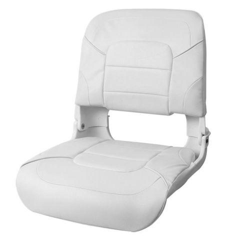 Сиденье пластмассовое складное с подложкой All Weather High Back Seat, белое