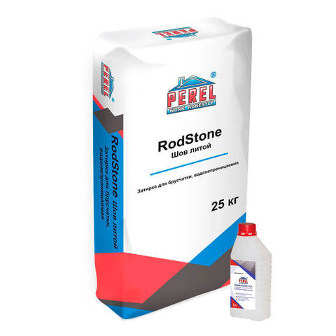 Perel Rodstone Шов-литой, черный, мешок 25 кг и раствор 1л - Затирка для брусчатки, водонепроницаемая